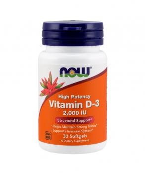 Витамины NOW Vitamin D-3 2000 МЕ 30 табл