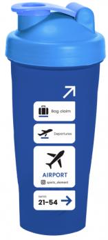 Шейкер «Airport» 600 мл Синий с белым логотипом.