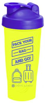 Шейкер «Bag» 600 мл Желтый с синей крышкой и логотипом.